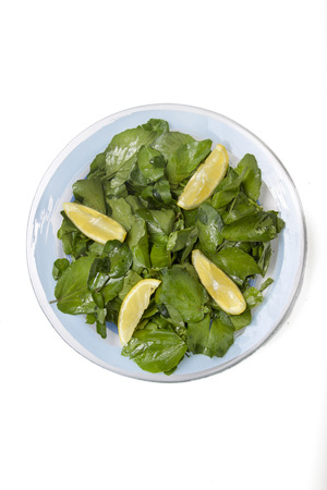 Close up view of a fresh and healthy watercress salad with lemon. photo