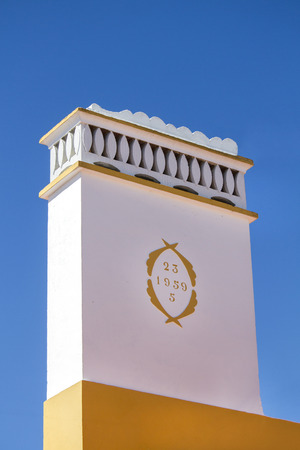 Close up view of a beautiful typical portuguese chimney on the Alentejo region.