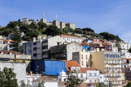 jorge: View of the famous Moorish castle of Sao Jorge located in Lisbon, Portugal.