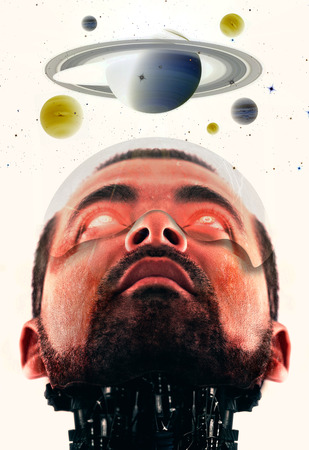 futurist: Close view of a conceptual futurist scene of a male cyborg with red eyes looking at the planets.