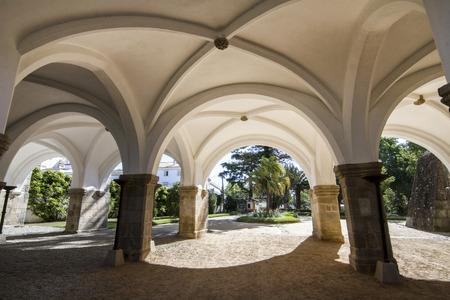 arcs: View of the beautiful Royal Palace arcs of Evora, Portugal.