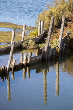 submerged: Close view of an abstract shot of a partial submerged bridge over a lake creating reflections.