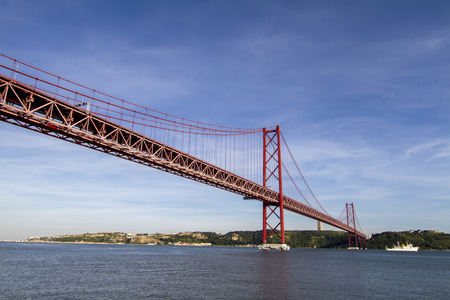 tagus: View of the famous portuguese bridge over the tagus river located in Lisbon, Portugal.