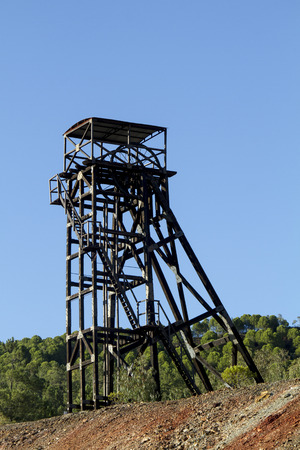 industrial heritage: View of an old abandoned mining coal tower.