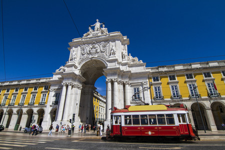 augusta: View of the famous Triumphal Augusta Arch located in Lisbon, Portugal.