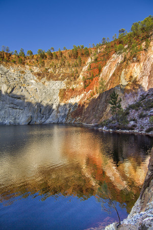 Beautiful view of a mining acidic lake located in Rio Tinto, Spain. photo