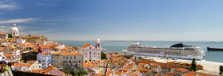 View of a big cruise ship docked in Lisbon, Portugal. photo
