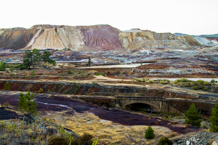 View of a iron mining location located in Rio Tinto, Spain. photo