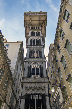 justa: View of the famous neo-gothic lift of Santa Justa located on Lisbon, Portugal. Stock Photo