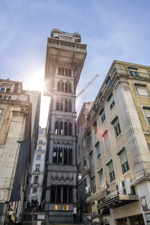justa: View of the famous neo-gothic lift of Santa Justa located on Lisbon, Portugal. Editorial