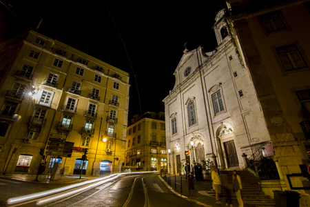 madalena: View of the Church of Madalena, located in Lisbon, Portugal. Stock Photo