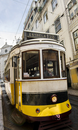 bica: View of the famous lift of vintage electric tram of Bica, located in Lisbon, Portugal.