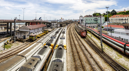 public sector: View of the Santa Apolonia train station located in Lisbon, Portugal.