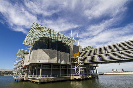 View of the largest indoor aquarium in Europe, located in Lisbon, Portugal. Editorial