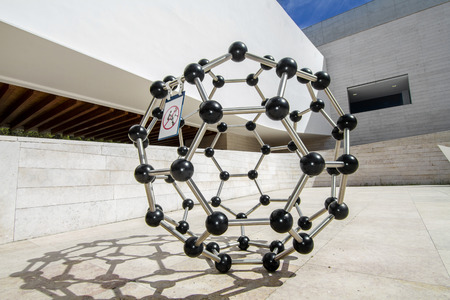 Close up view of a atomic molecular structure located in the Knowledge Pavilion in Lisbon, Portugal.