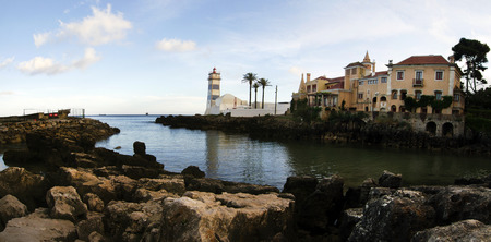 marta: Beautiful view of the Santa Marta lighthouse located in Cascais, Portugal.