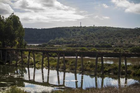 water transportation: View of a water transportation pipe bridge on Portimao region, Portugal.