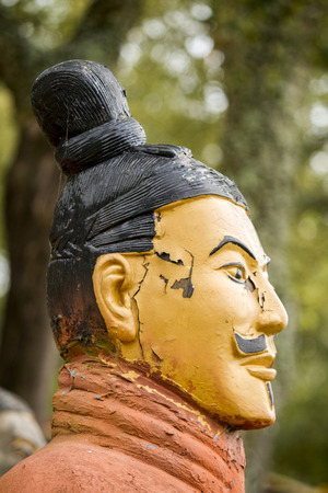 dynasty: View of a replica statue located in Buddha Eden park, Bombarral, Portugal... of the famous Qin dynasty Terracotta Army landmark located on Xian, China.