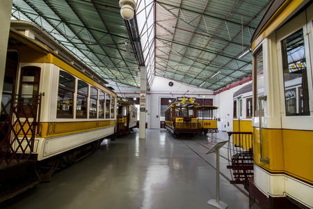 trams: View of a museum piece of the history of electric trams in Lisbon, Portugal. Editorial