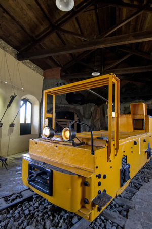 tunneling: Close up view of a museum with an old transport mining vehicle. Editorial