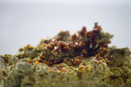 sulfate: Close up view of a brown botryogen mineral. Stock Photo