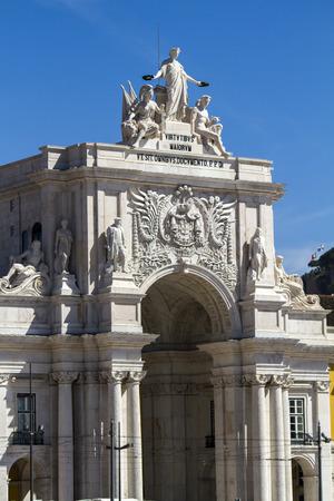 augusta: Vista de la famosa Augusta Triunfo Arco situado en Lisboa, Portugal.