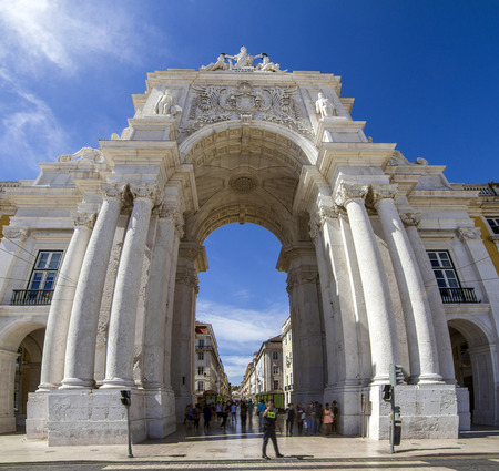 augusta: View of the famous arch of the Augusta street located in Lisbon, Portugal.