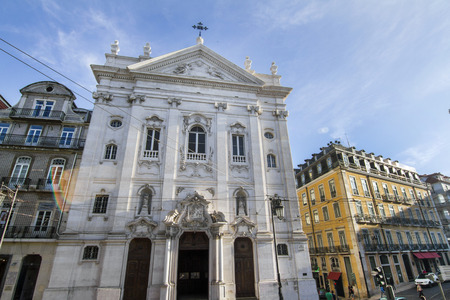 chiado: View of the Church of Encarnacao, located in Lisbon, Portugal. Stock Photo