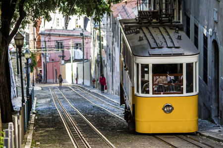 gloria: View of the famous lift of vintage electric tram of Gloria, located in Lisbon, Portugal. Stock Photo