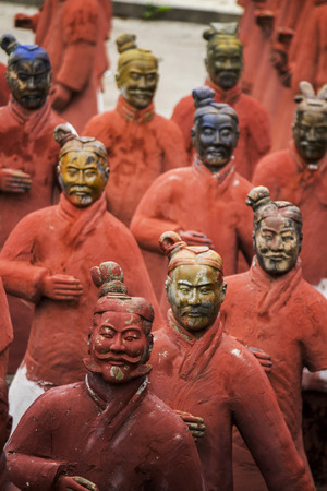 qin: View of replica statues located in Buddha Eden park, Bombarral, Portugal... of the famous Qin dynasty Terracotta Army landmark located on Xian, China. Editorial