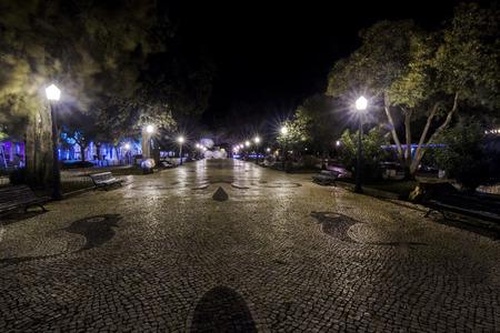 manuel: Garden Manuel Bivar of Faro city, Portugal at night.