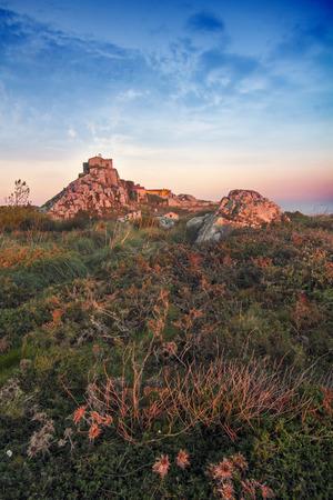 at the highest: Highest viewpoint of Sintra region, Santuario da Peninha, Portugal.