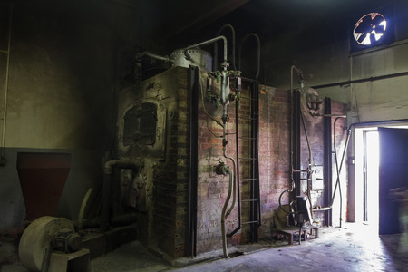 eerie: Eerie view of an old brick furnace. Stock Photo