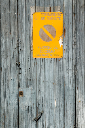 Close up view of an old wooden warehouse door. photo