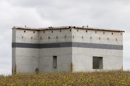 bird watching: View of a bird watching house spot in Alentejo, Portugal.