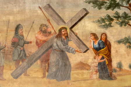 depiction: Old artistic depiction of Christ carrying the cross.