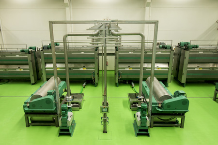 View of a modern processing unit machinery for olive oil.