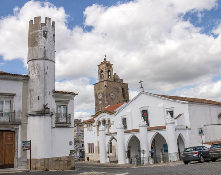 santas village: Outdoor view of the beautiful church of Matriz de Santa Maria da Feira located in Beja, Portugal.