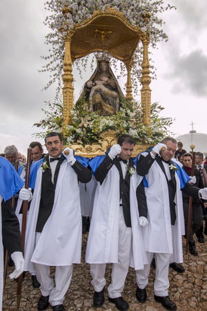 christian altar: LOULE, PORTUGAL - April, 2015 : Religious celebration of the Procession of Mae Soberana in the Easter month in Loule city, Portugal. Editorial