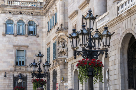 View of a detail of the Palau de la Generalitat de Catalunya, located in Barcelona, Spain.