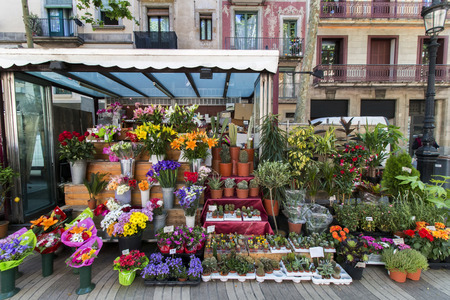 sidewalk sale: Close view of typical flower shop of Barcelona city, Spain.
