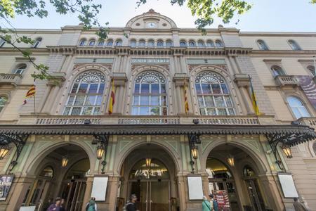 the ramblas: View of the facade of the Barcelona Gran Teatro del Liceo in Las Ramblas, Barcelona, Spain.
