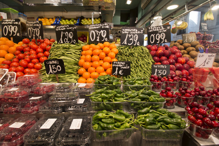 boqueria: Interiors of the famous La Boqueria market located in Barcelona, Spain. Stock Photo