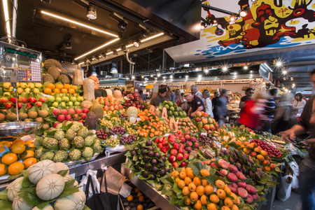 boqueria: Interiors of the famous La Boqueria market located in Barcelona, Spain. Editorial