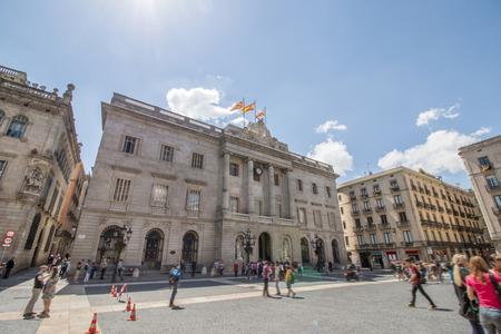 generalitat: View of a detail of the Palau de la Generalitat de Catalunya, located in Barcelona, Spain.