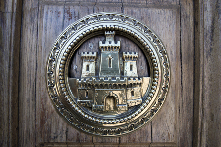 colom: Close view of the door details from the Capitania General building located in Barcelona, Spain. Editorial