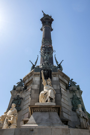 colom: Close view details of the Columbus Monument in Barcelona, Spain.