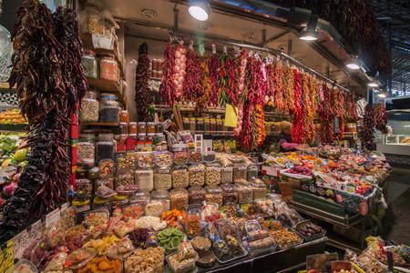 la boqueria: Interiors of the famous La Boqueria market located in Barcelona, Spain. Stock Photo