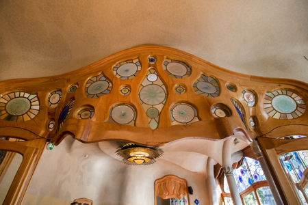 modernism: BARCELONA, SPAIN - 23rd MAY, 2015: Interior details of the famous Casa Battlo, modernism architect Antoni Gaudi located in Barcelona, Spain.