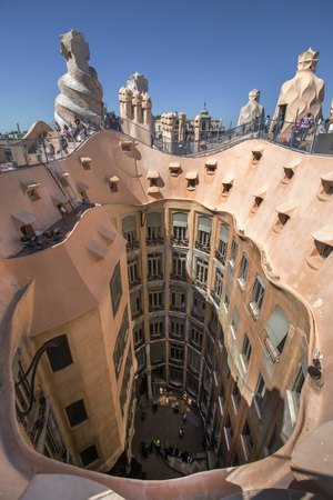 BARCELONA, SPAIN - 23rd MAY, 2015: Interior details of the famous Casa La Pedrera, from modernism architect Antoni Gaudi located in Barcelona, Spain. Editorial